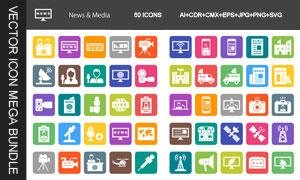 新闻传媒行业主题图标设计矢量素材