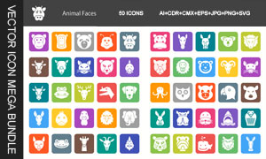 动物面部表情主题图标设计矢量素材