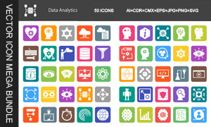 五彩缤纷数据分析图标设计矢量素材