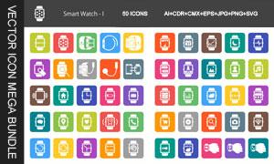智能穿戴手表设备图标设计矢量素材