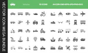 帆船等多种交通工具图标创意矢量图