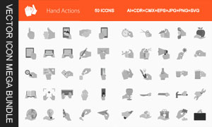多种情景下的灰色手势图标矢量素材