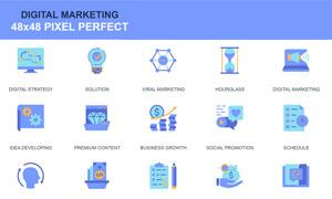 市场营销主题图标创意设计矢量素材