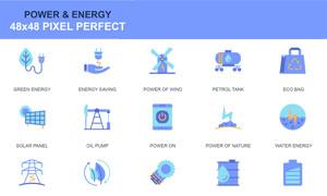扁平化风格能源主题图标设计矢量图