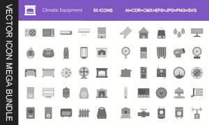 空调与取暖器等家用电器图标矢量图