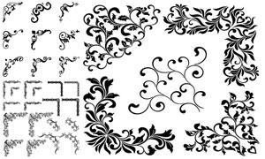 黑白花纹图案边框装饰创意矢量素材