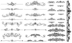 线描花朵元素花纹装饰边框矢量素材