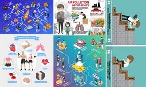 大气污染与健身运动信息图矢量素材