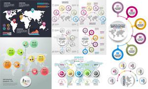 圆形与地图等元素信息图表矢量素材