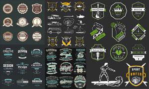 搖滾樂與咖啡等標志貼紙設計矢量圖