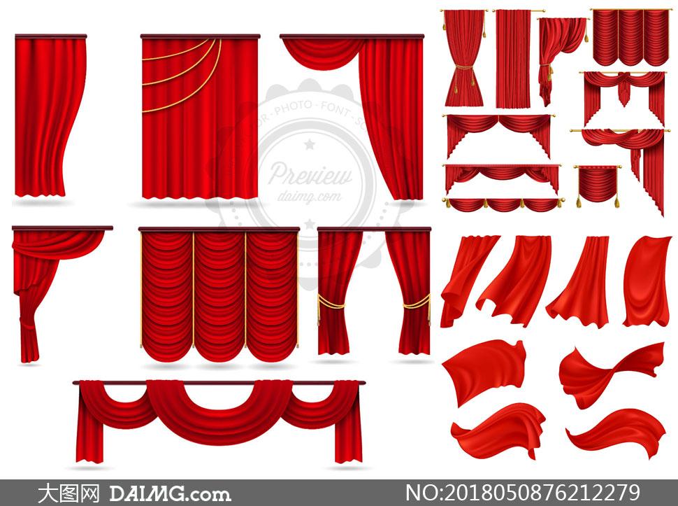 矢量图设计素材创意设计设计元素窗帘幕布红色红布幕帘帘子帷幕流苏
