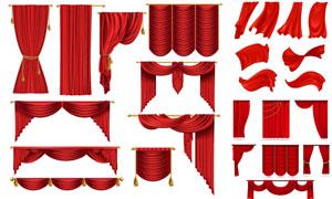红色逼真幕布窗帘主题设计矢量素材
