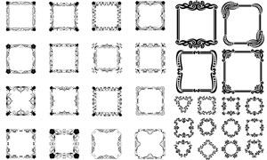 黑白花纹图案装饰边框设计矢量素材