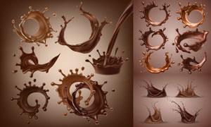 飞溅效果液态的丝滑巧克力矢量素材