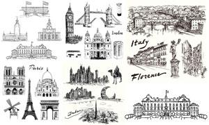 黑白手繪效果城市風情矢量素材V01