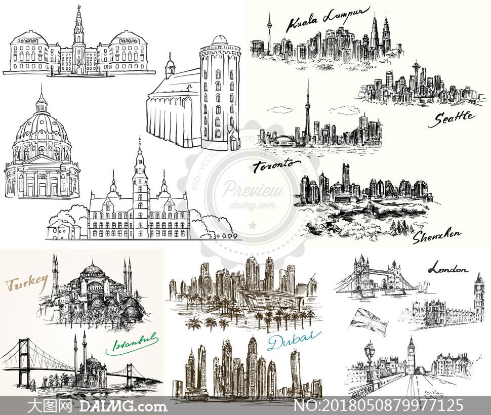 词: 矢量素材矢量图设计素材创意设计手绘素描黑白城市建筑物建筑群马