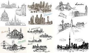 黑白手绘效果城市风情矢量素材V02