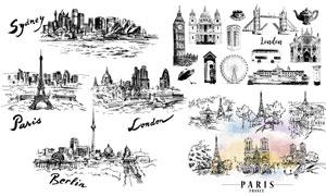黑白手绘效果城市风情矢量素材V03