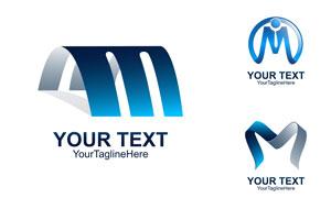 蓝色英文字母变形创意标志矢量素材