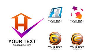 英文字母为依托设计的标志矢量素材