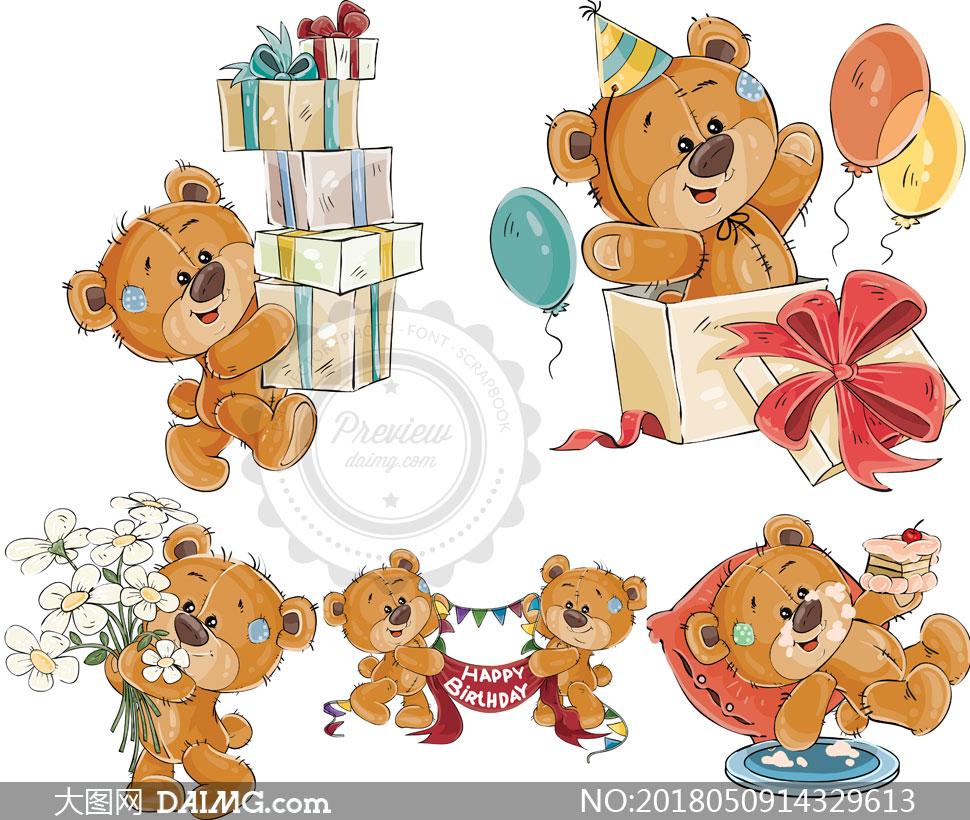 生日场景中的小熊主题矢量素材v03下载,压缩包已封装预览图片; 关
