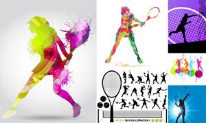 网球运动人物剪影创意设计矢量素材