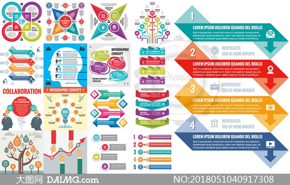 五彩几何元素信息图表设计矢量素材