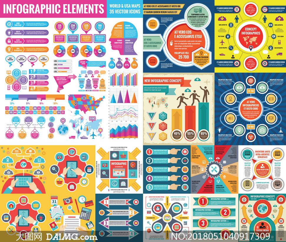 色彩丰富的信息图创意设计矢量素材