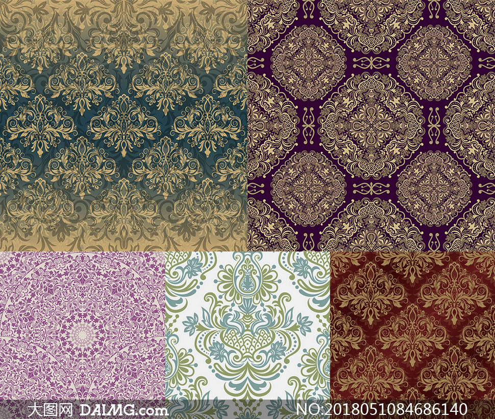 四方连续的无缝花纹背景矢量素材V3