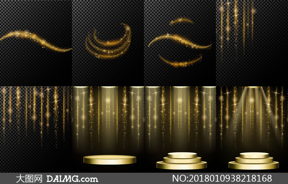 圆形舞台与闪耀的星光元素矢量素材