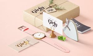 包装盒与腕表名片效果展示贴图模板