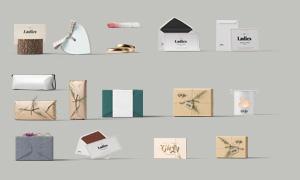 卡片与纸质包装盒贴图分层设计模板