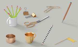 鉛筆剪刀與長尾夾等物PSD分層素材
