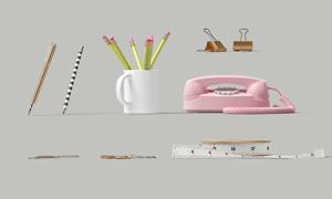 电话机长尾夹与铅笔等PSD分层素材