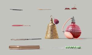 珠串項鏈與剪刀等物品PSD分層素材
