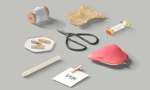 糖果剪刀与包包卡片等PSD分层素材