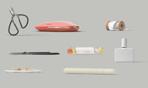 蠟燭剪刀包包與護膚品PSD分層素材