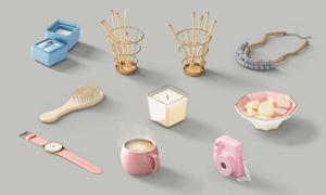 梳子手表与糖果戒指盒PSD分层素材