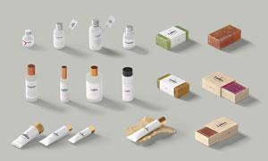 潔面皂與多種護膚品瓶子貼圖源文件