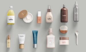 多款日用护肤产品包装设计贴图模板