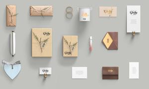 卡片包装盒与戒指包包贴图模板素材