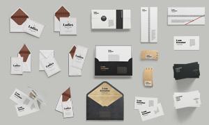 信封卡片与便签纸应用效果贴图模板