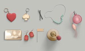 包包鑰匙扣與發卡珠串PSD分層素材