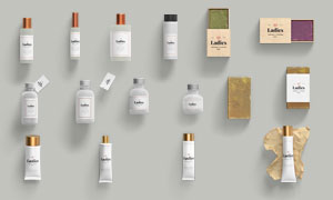 护肤用品与香皂包装标签贴图源文件