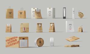 牛皮纸手提袋包装盒等贴图模板素材