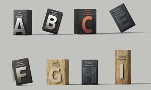 立方体上的浮雕字母贴图模板源文件