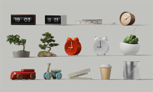 盆景時鐘杯子與木制玩具等分層素材