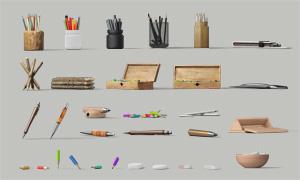 鉛筆與木制文具盒主題PSD分層素材