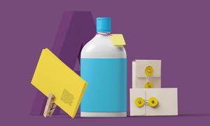 瓶子名片与纸质包装袋贴图分层模板