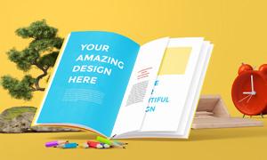 盆景铅笔与打开的杂志贴图模板素材